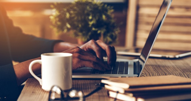 online student on laptop